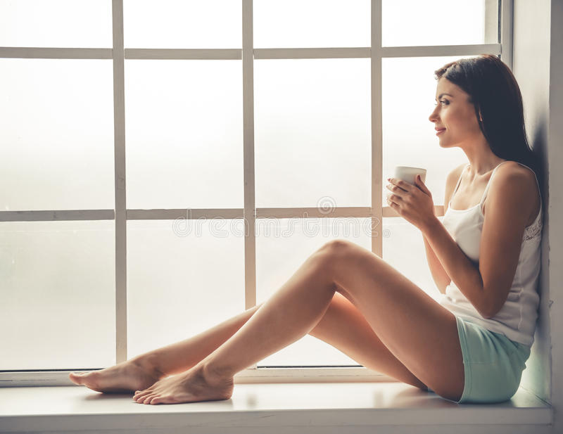 Download Beautiful girl at home stock image. Image of awake, rest - 79700321