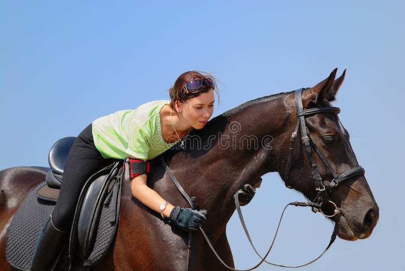 Beautiful girl and horse royalty free stock images