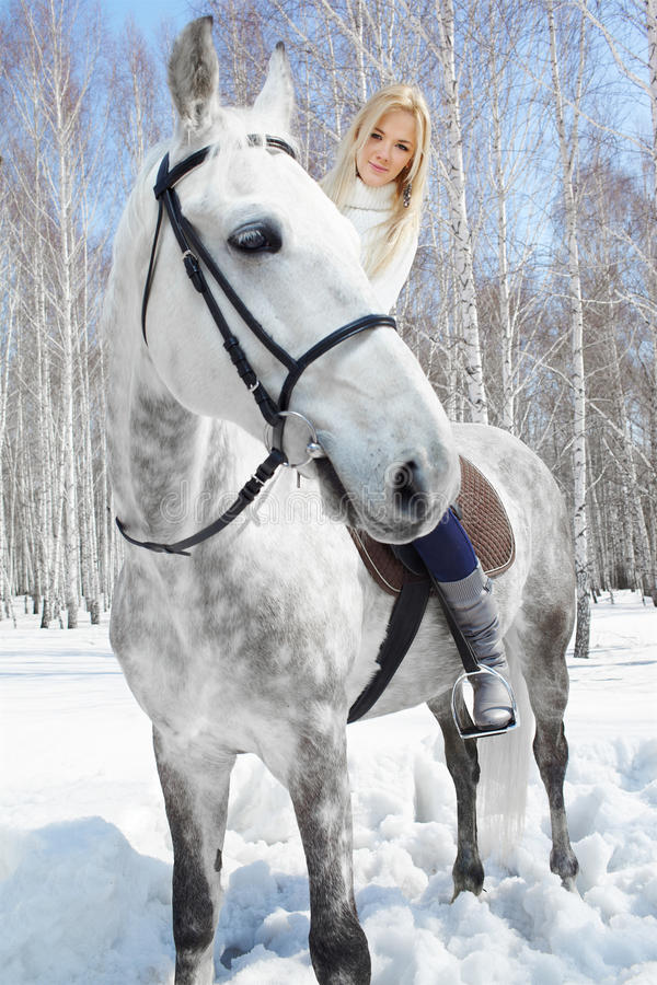 Download Beautiful girl with horse stock photo. Image of leisure - 19595062