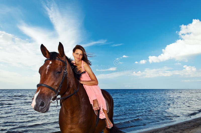Download Beautiful Girl  With Horse On Seacoast Stock Images - Image: 25977624