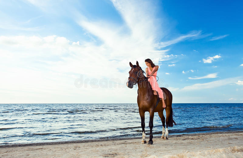 Download Beautiful Girl  With Horse On Seacoast Stock Photo - Image: 25977628
