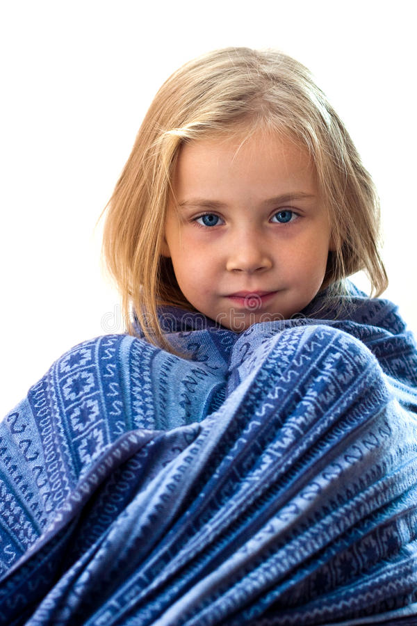 Free Beautiful Girl In Blue Blanket Royalty Free Stock Images - 16669899