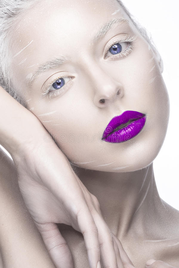 Free Beautiful Girl In The Image Of Albino With Purple Lips And White Eyes. Art Beauty Face. Royalty Free Stock Photo - 52689465