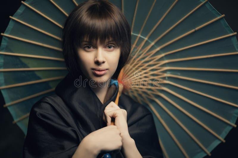 Beautiful Girl With Japan Umbrella Stock Photography