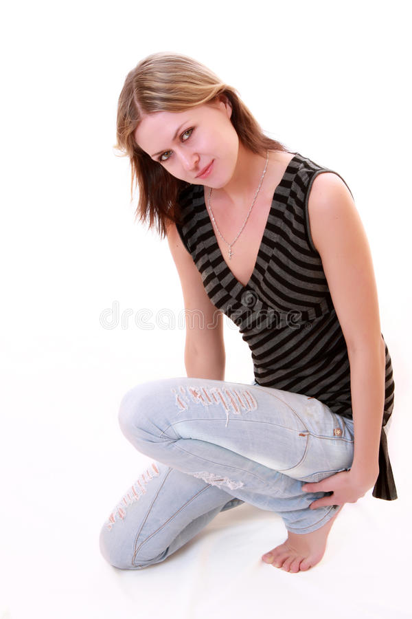 Beautiful girl in jeans royalty free stock photos
