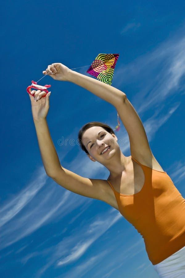 Beautiful Girl Kite Fly. Royalty Free Stock Photography