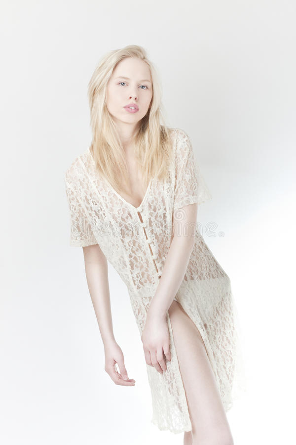 Beautiful girl in lace clothes royalty free stock photo