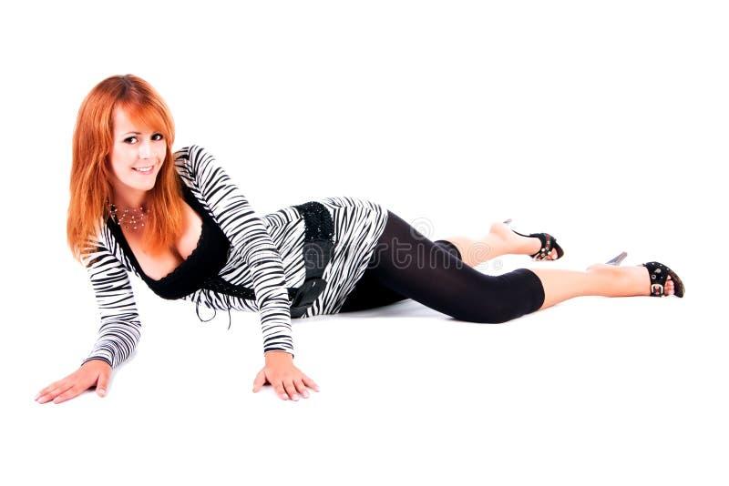 Download Beautiful Girl Lie On Floor Stock Image - Image of alluring, elegant: 11811255