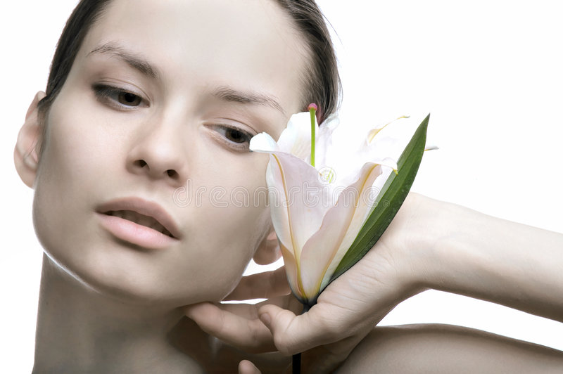 Download The Beautiful Girl And Lily Stock Photo - Image: 2211192