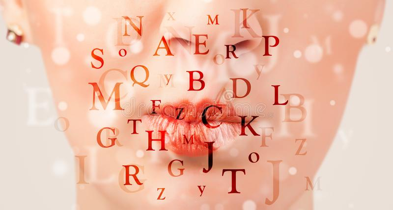 Beautiful girl lips breathing fonts and characters. Close up royalty free stock images