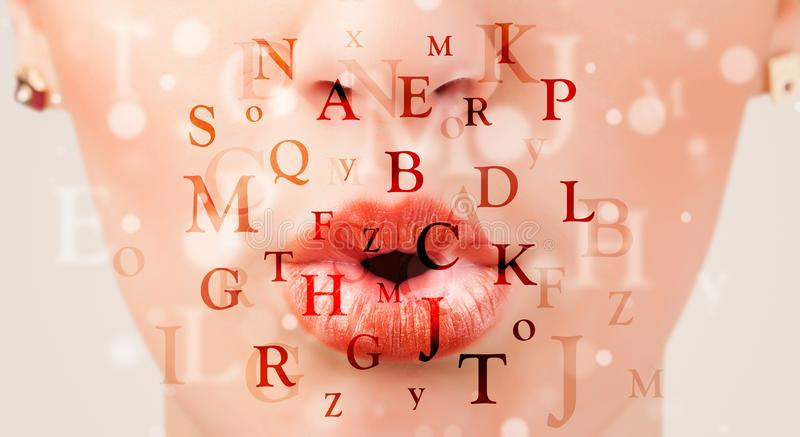 Beautiful girl lips breathing fonts and characters. Close up royalty free stock image