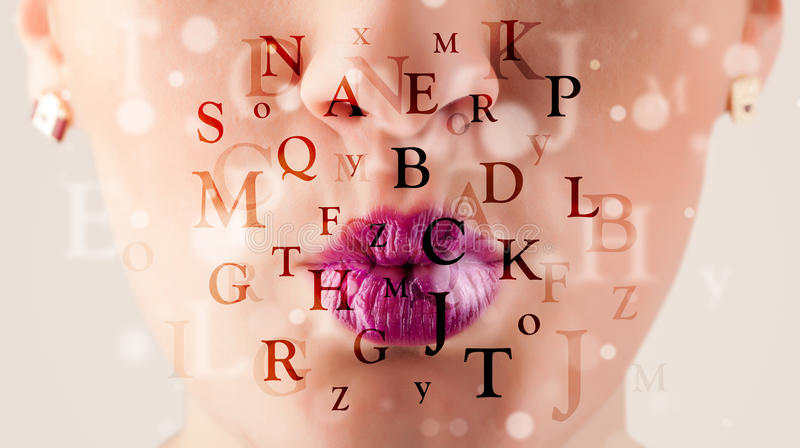 Download Beautiful Girl Lips Breathing Fonts And Characters Stock Image - Image: 36570673