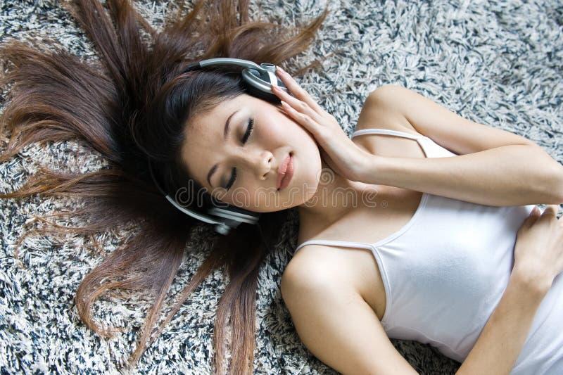 Beautiful Girl Listening Music Stock Images