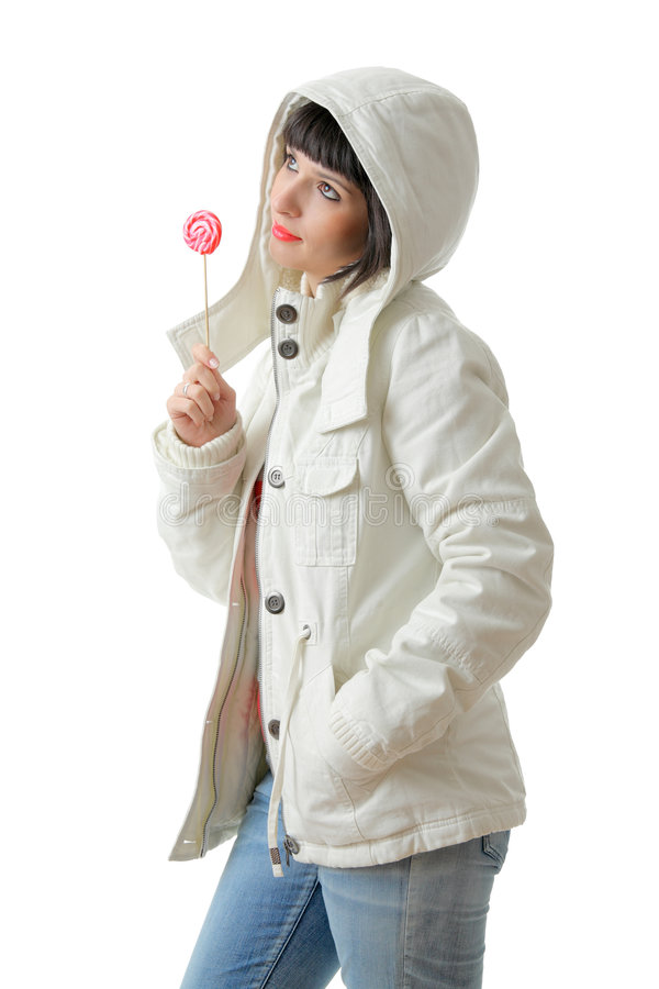 Beautiful Girl With A Lollipop Stock Photo