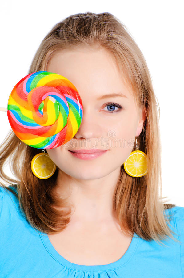 Beautiful Girl With Lollypop Stock Image