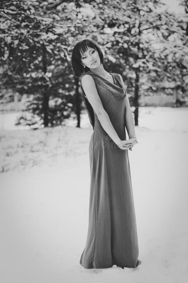 Beautiful girl in a long dress stock image
