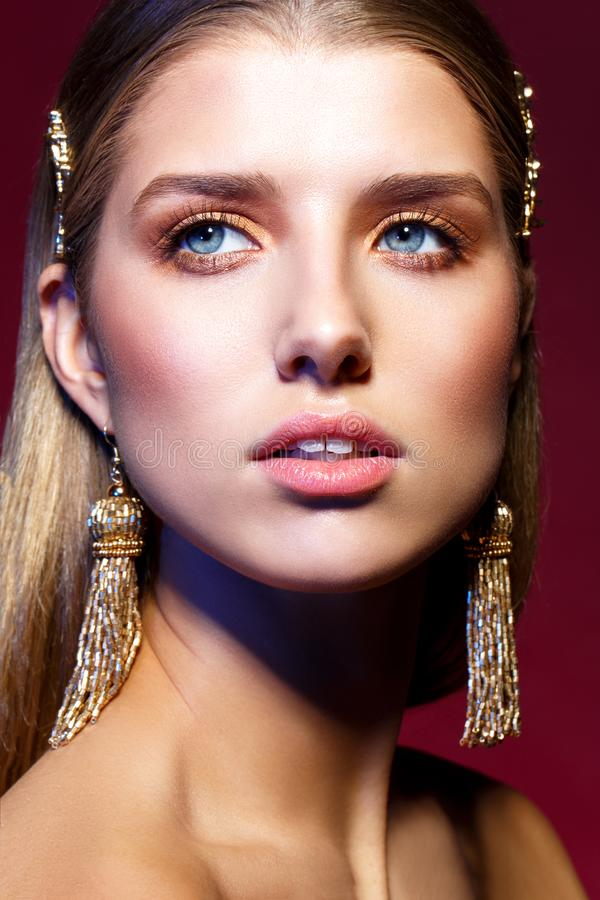 Beautiful girl with long earrings stock photography