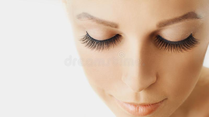 Beautiful girl with long false eyelashes and perfect skin. Eyelash extensions, cosmetology, beauty and skin care. Close up, macro with copy space royalty free stock images