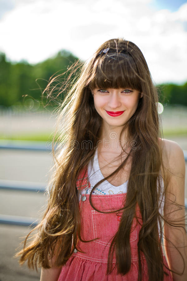A beautiful girl with long hair royalty free stock image