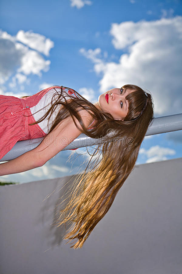 A beautiful girl with long hair stock photo