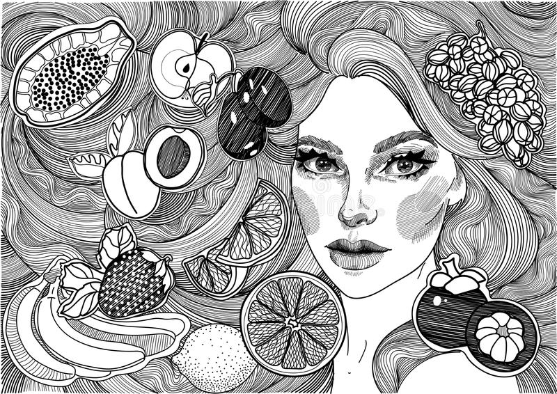 beautiful girl with long hair and fruits royalty free illustration