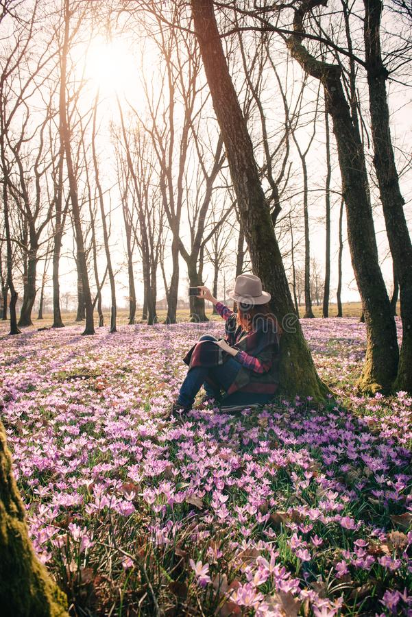 Spring. Sun. Blossoming crocuses in forest and a female traveler. Beautiful girl with long hair in a hat and colorful poncho, matching purple flowers around stock photography