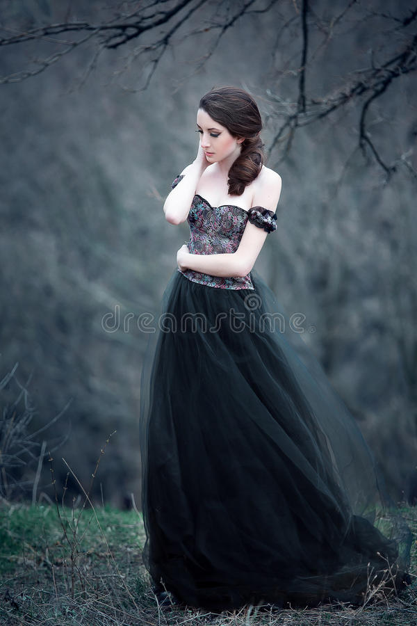 Beautiful girl with long hair. Standing in a black dress standing on the gothic background blowers forests, forest princess, halloween , dark boho , fashionable royalty free stock photography