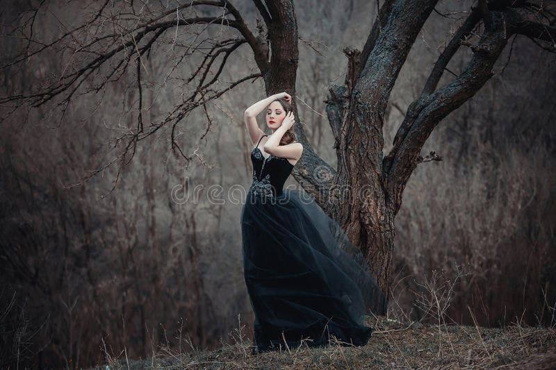 Beautiful girl with long hair. Standing in a black dress standing on the gothic background blowers forests, forest princess, halloween , dark boho , fashionable stock image