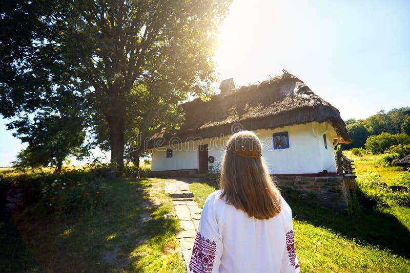Ukrainian woman in ethnic village stock photos