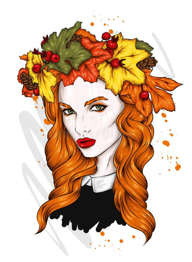 Beautiful girl with long hair in a wreath of autumn leaves. Big eyes and full lips. Vector illustration. royalty free illustration