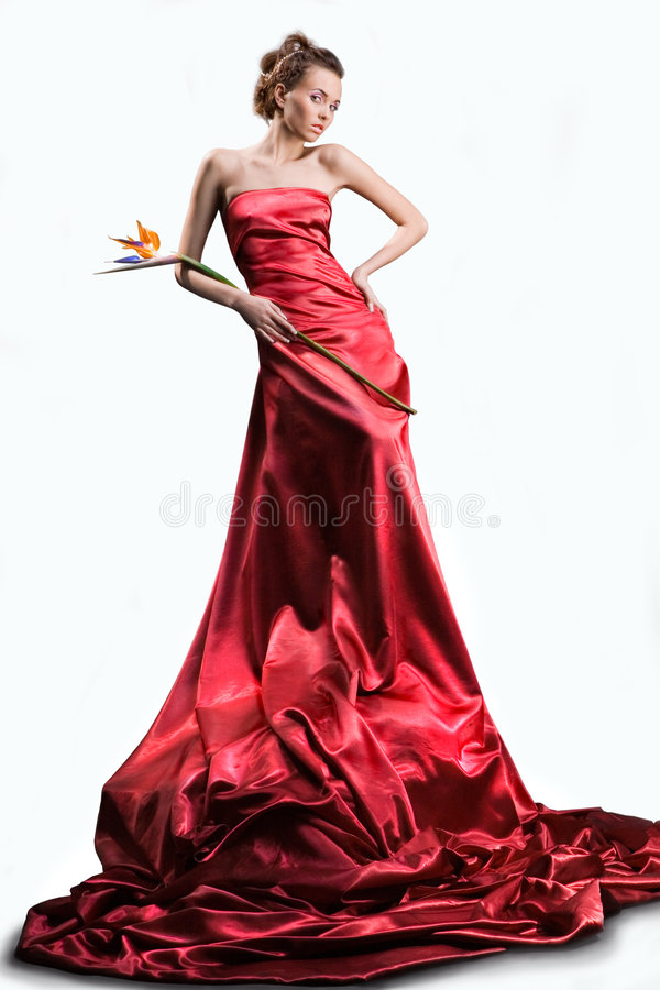 The beautiful girl in a long red dress. Holds an exotic flower in a hand on a white background stock images
