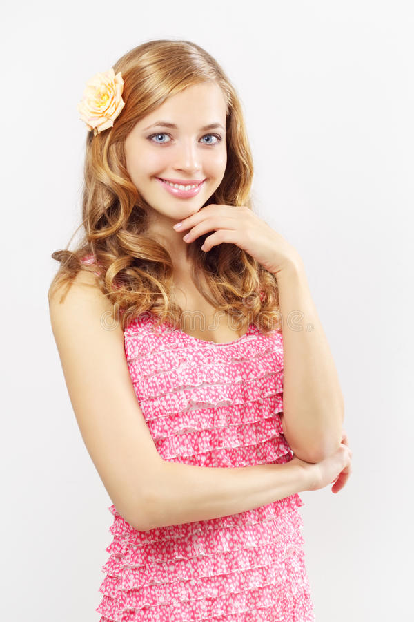 Download Beautiful Girl With Long Wavy Hair On Gray Stock Photo - Image: 21474384
