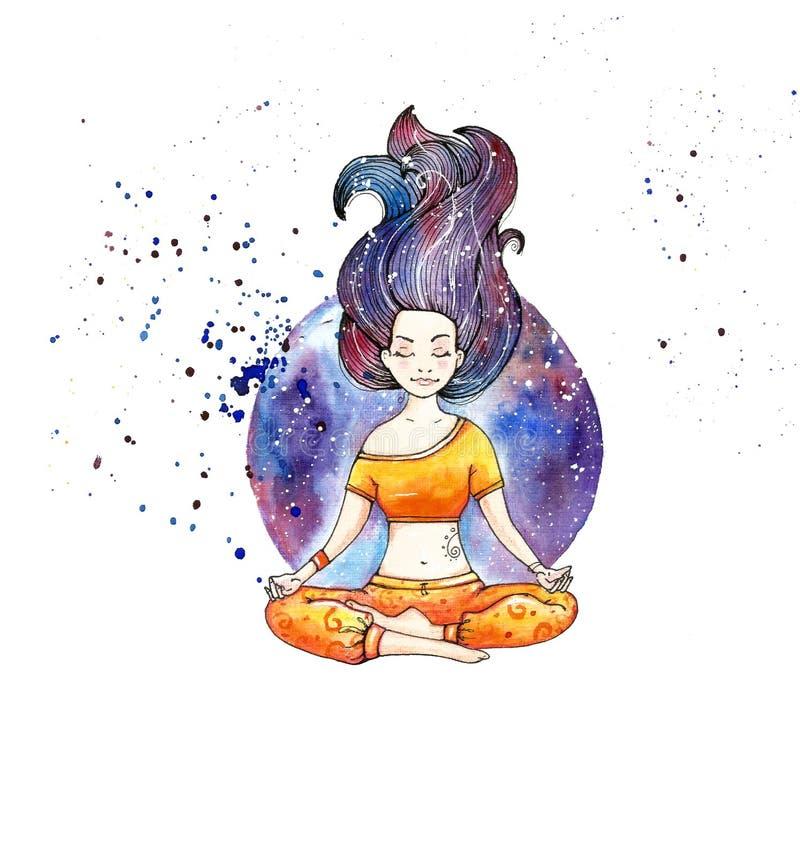 Girl in lotus pose. Asana royalty free illustration