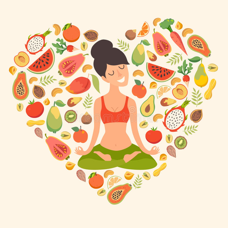Beautiful girl in the lotus position on the background of the fruit. In the form of heart pattern. The design concept of healthy food, vegetarianism, yoga vector illustration