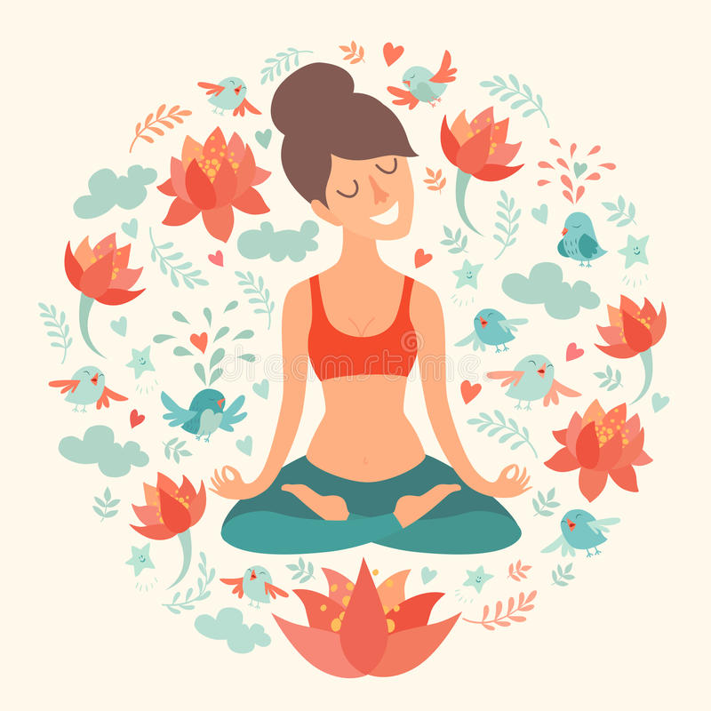 Beautiful girl in the lotus position on the circle background. With lotus, bird, cloud. heart, leaf on ivory color. The design concept of yoga, fitness, relax royalty free illustration