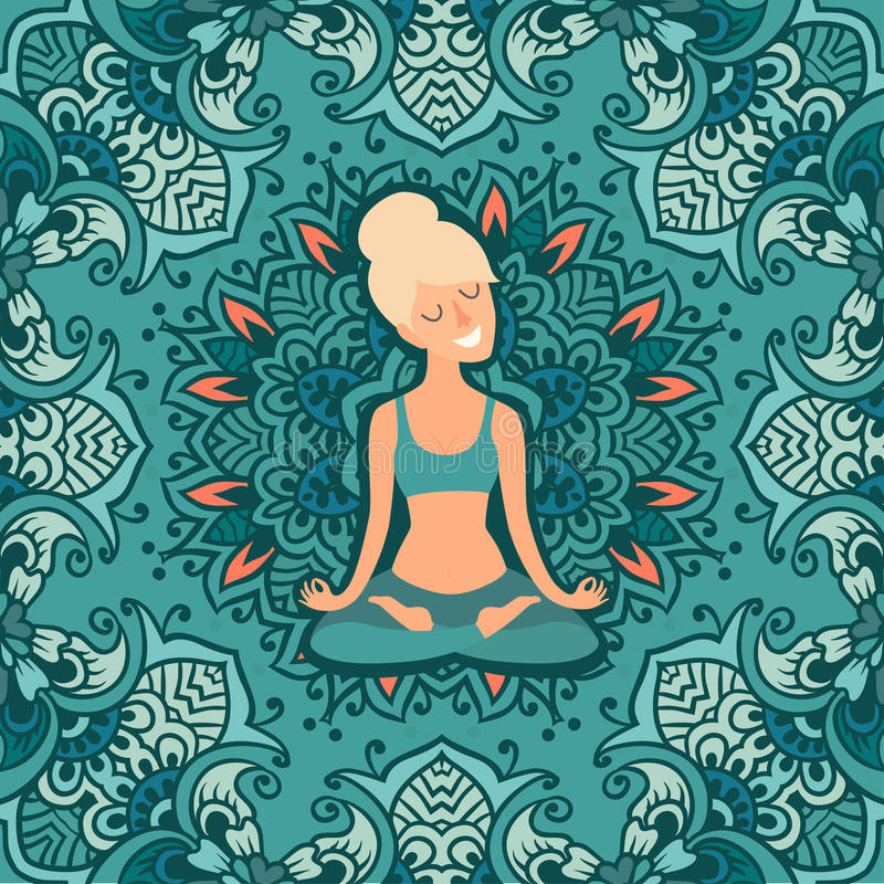 Beautiful girl in the lotus position on the mat for yoga. Vector colored illustration on the mandala background. The design concept of yoga, relax, happiness royalty free illustration