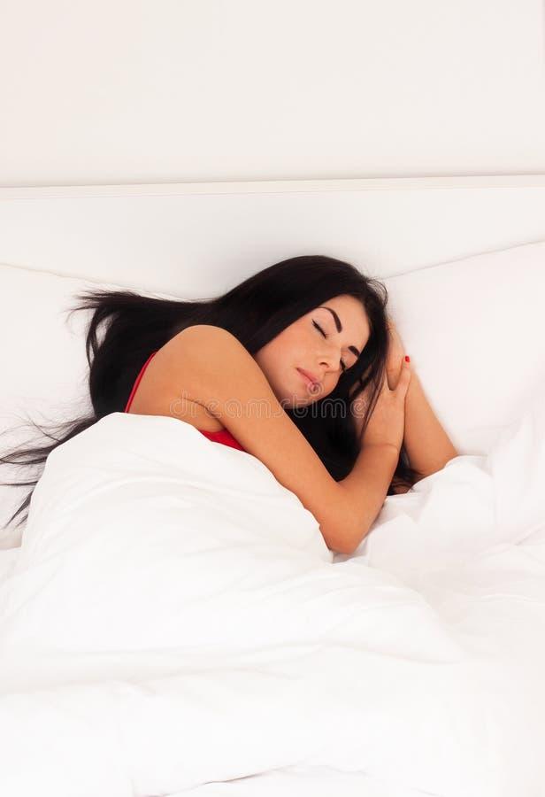 Free Beautiful Girl Lying In Bed, Woke Up, Asleep. Royalty Free Stock Images - 17924429
