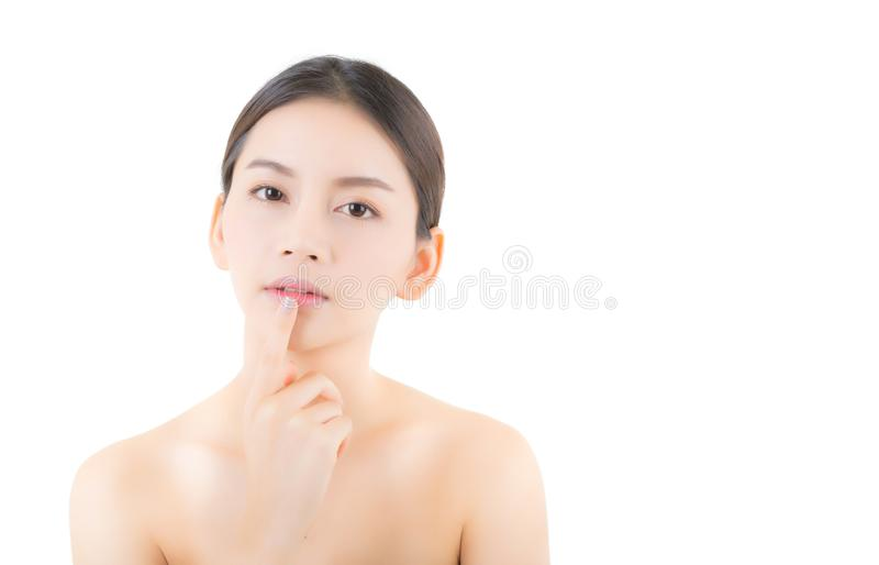 Beautiful girl with makeup, woman and skin care concept / attractive asia girl smilling on face isolated. On white background stock photos