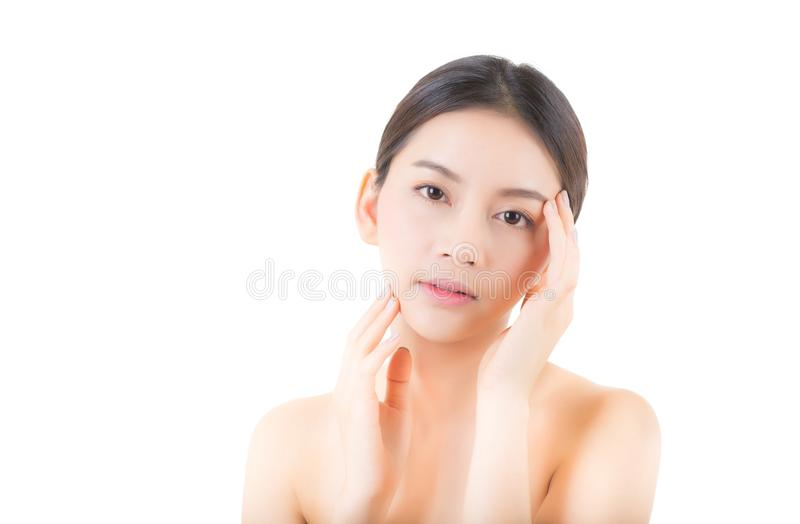 Beautiful girl with makeup, woman and skin care concept / attractive asia girl smilling on face isolated. On white background stock photography