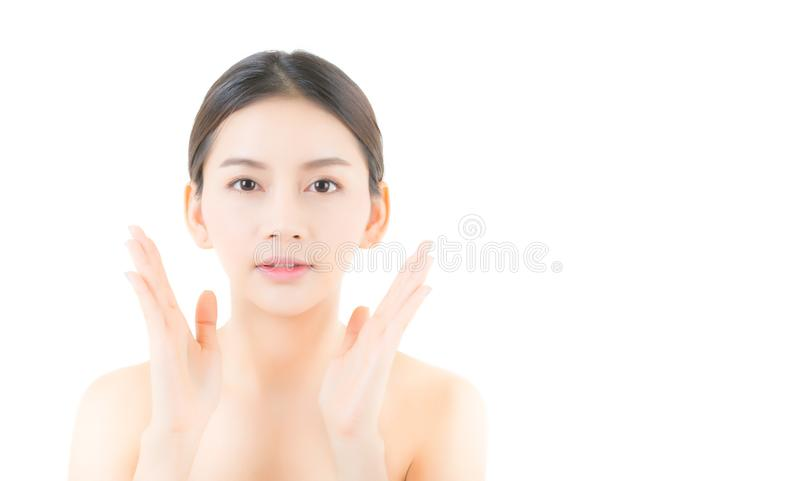Beautiful girl with makeup, woman and skin care concept / attractive asia girl smilling on face isolated. On white background royalty free stock image