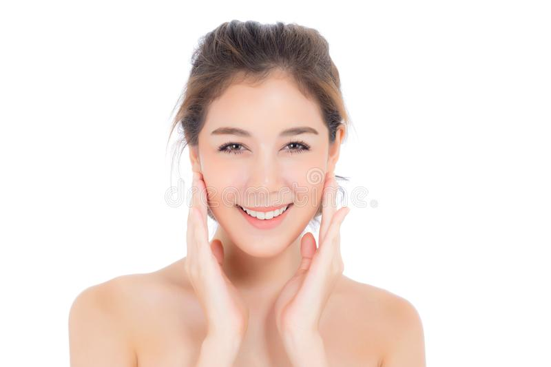 Beautiful girl with makeup, woman and skin care cosmetic concept / attractive asian girl on face isolated stock photos