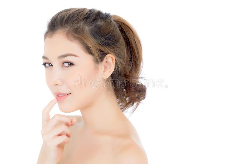 Beautiful girl with makeup, woman and skin care cosmetic concept / attractive asian girl on face isolated stock image