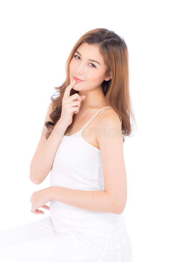Beautiful girl with makeup, woman and skin care cosmetics concept / attractive asian girl on face stock photography