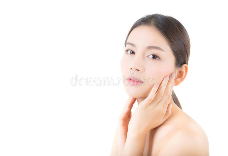 Beautiful girl with makeup, woman and skin care cosmetics concept / attractive asian girl smilling on face isolated. On white background royalty free stock photos