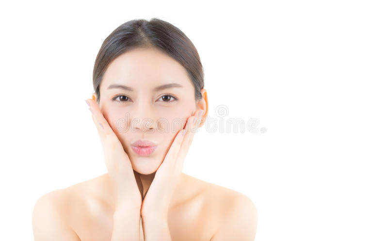 Beautiful girl with makeup, woman and skin care cosmetics concept. Beautiful girl with makeup, woman and skin care cosmetics concept / attractive asian girl royalty free stock photography