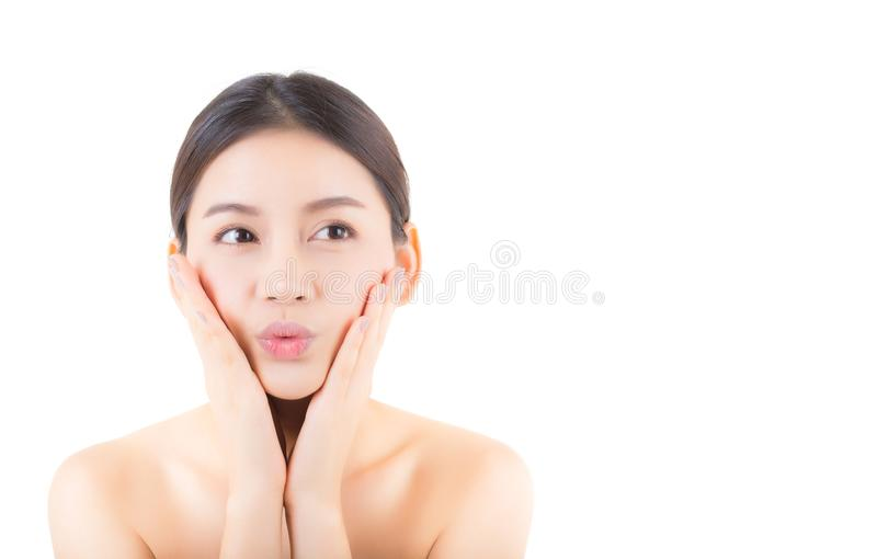 Beautiful girl with makeup, woman and skin care cosmetics concept. Beautiful girl with makeup, woman and skin care cosmetics concept / attractive asian girl on royalty free stock photo