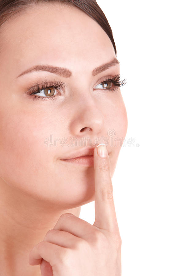 Download Beautiful Girl Making Silence Gesture. Stock Photo - Image of fashion, isolated: 15125402