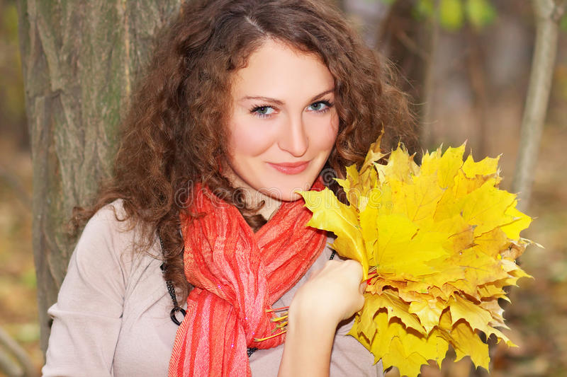 Download Beautiful Girl With Maple Leaves Stock Photography - Image: 27629322