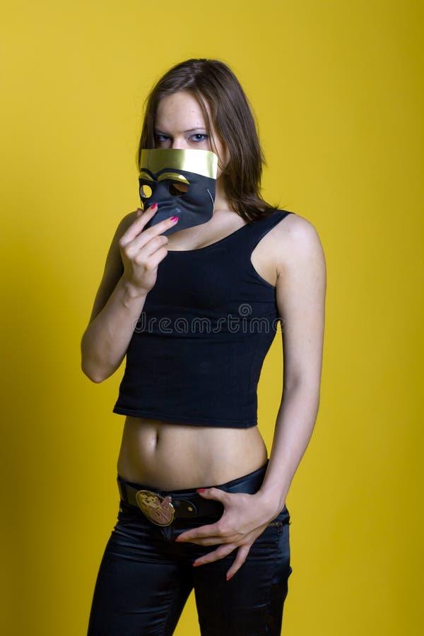 Beautiful girl with mask stock photo
