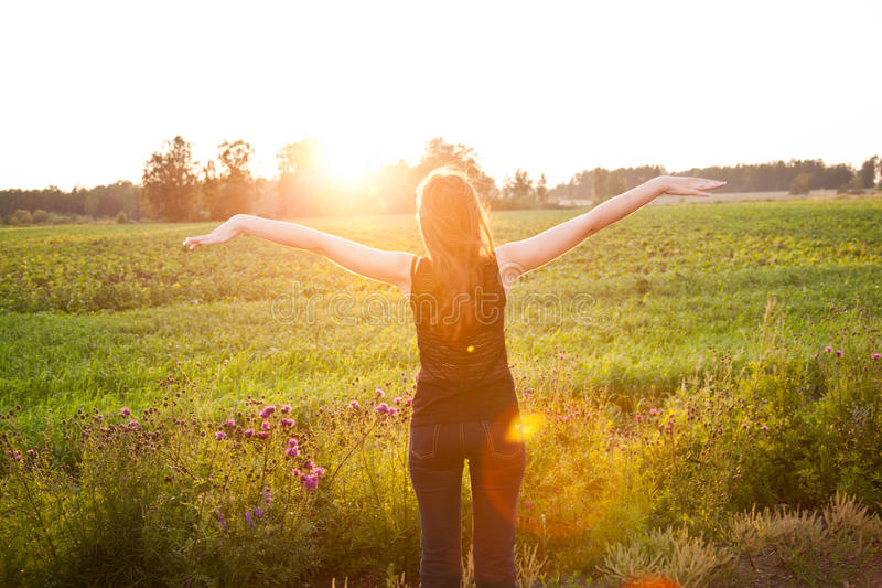 Download Beautiful Girl In The Meadow Stock Photo - Image of female, green: 23528488